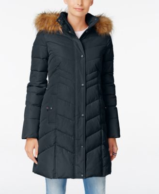 Tommy Hilfiger Tommy Hilfiger Faux Fur Trim Hooded Quilted Puffer Coat Tommyhilfiger Cloth Coats Coats For Women