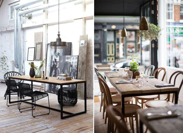Une Table De Salle à Manger Jen Rêve Plateau En Bois Et Pied En - Table fer et bois salle manger pour idees de deco de cuisine