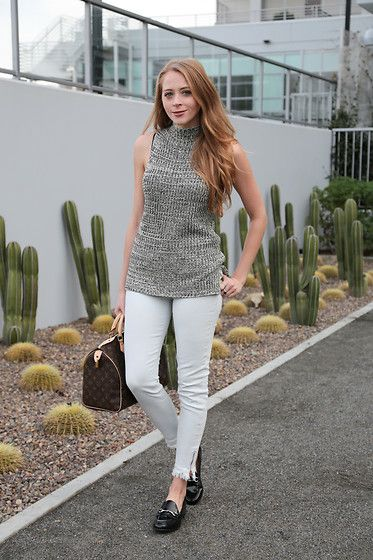 Get this look: http://lb.nu/look/8599011  More looks by Natalie Ast: http://lb.nu/natalieast  Items in this look:  Target Loafers, Turtleneck Tank, Louis Vuitton Speedy Bag, Fidelity Denim   #chic #minimal #preppy #ootd #loafers #gucci #louisvuitton #wiwt