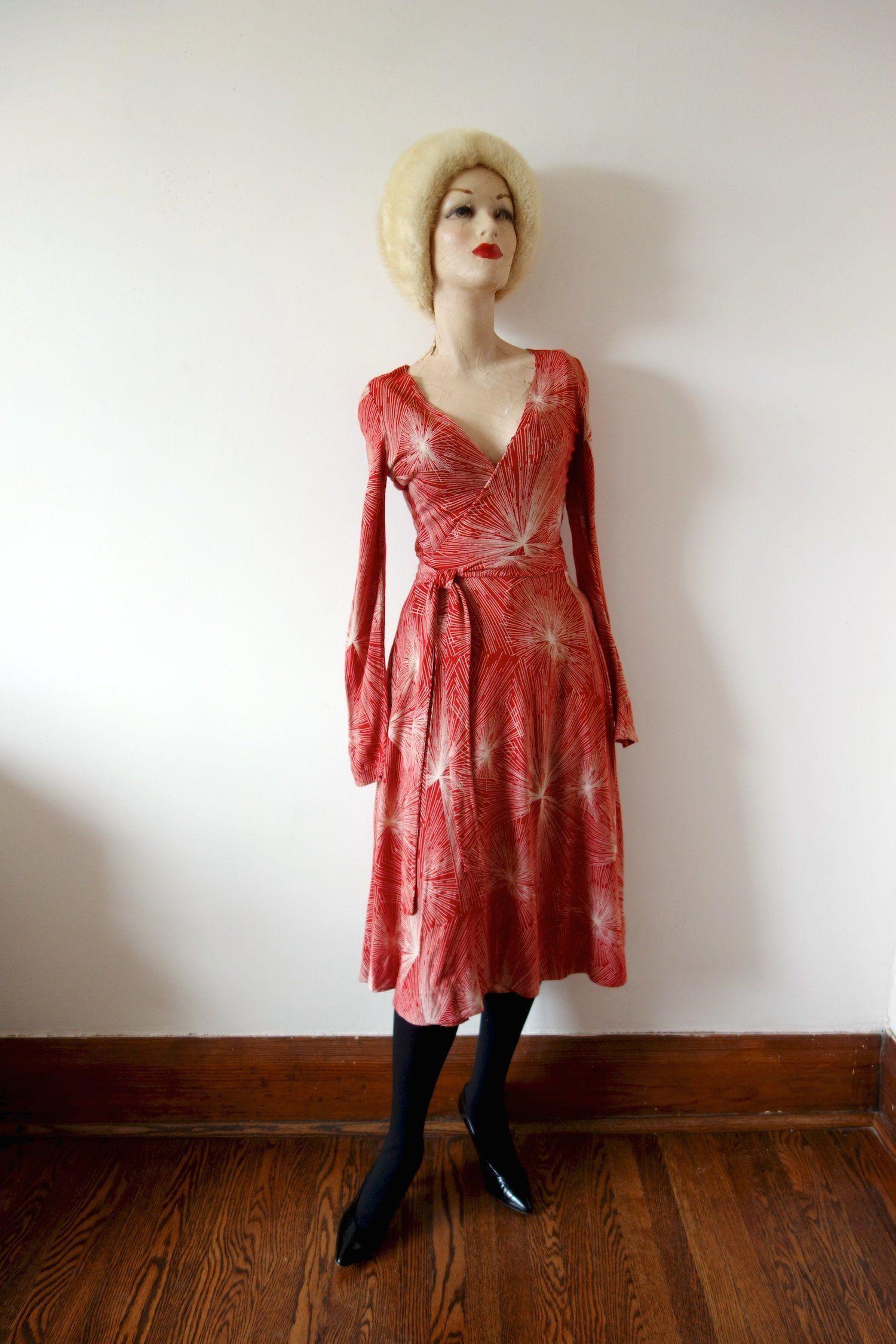 1970s Diane Von Furstenberg Wrap Dress Vintage Dvf Knit Dress With Red And White Fireworks Print Diane Von Furstenberg Wrap Dress Vintage Dresses Knit Dress [ 2250 x 1500 Pixel ]