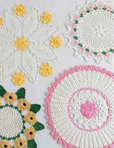 Floral Beauties crochet pattern leaflet Pink Blossom Doily