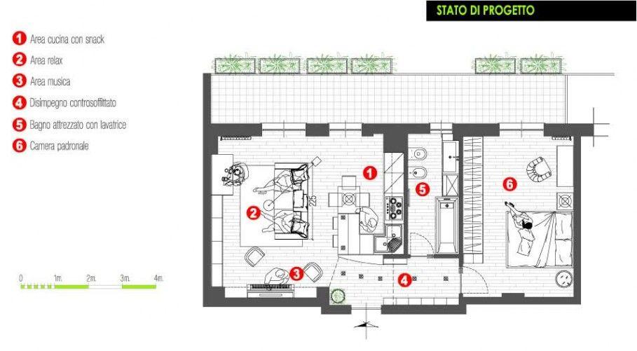 Progetto Arredo Appartamento 50 Mq Planimetrie Dell Appartamento Arredamento Arredamento Casa