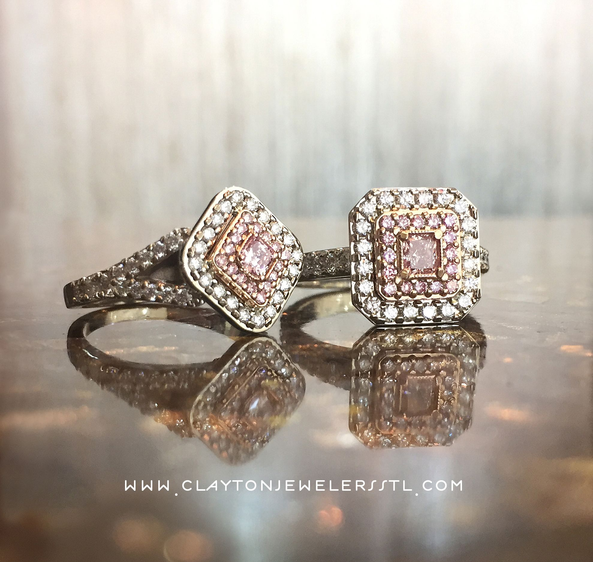 Custom made pink diamond engagement rings made by our store owner