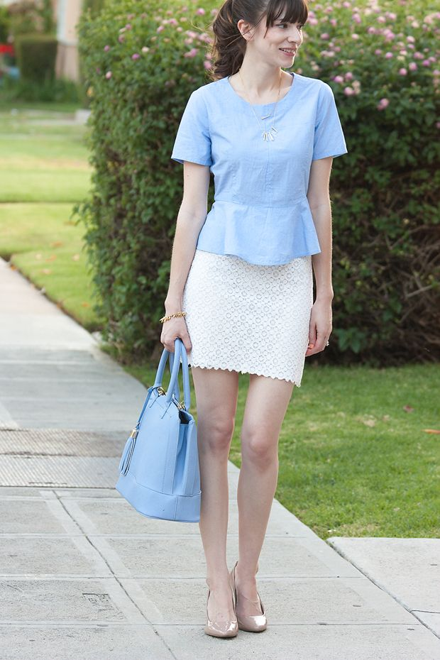 be6ff15d5 Chambray Peplum Crop Top, Lace pencil skirt, periwinkle bag, nude heels.  #springStyle