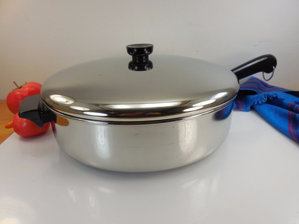 Rare Revere Ware Tri Ply Disc 12 Saute Pan Chicken Fryer Straight Side Skillet Revere Ware Vintage Cookware Pan Chicken