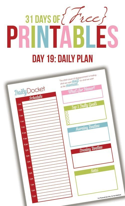 Daily Planner Printable (Day 19 Daily planner printable - printable day planner