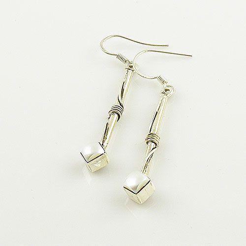 Pearl Sterling Silver Bar Earrings