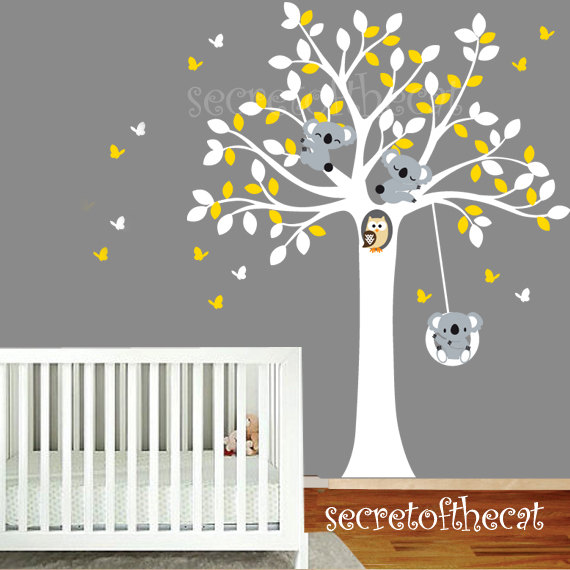 White Tree Decal Tree And Koalas Decal Wall Decals Nursery