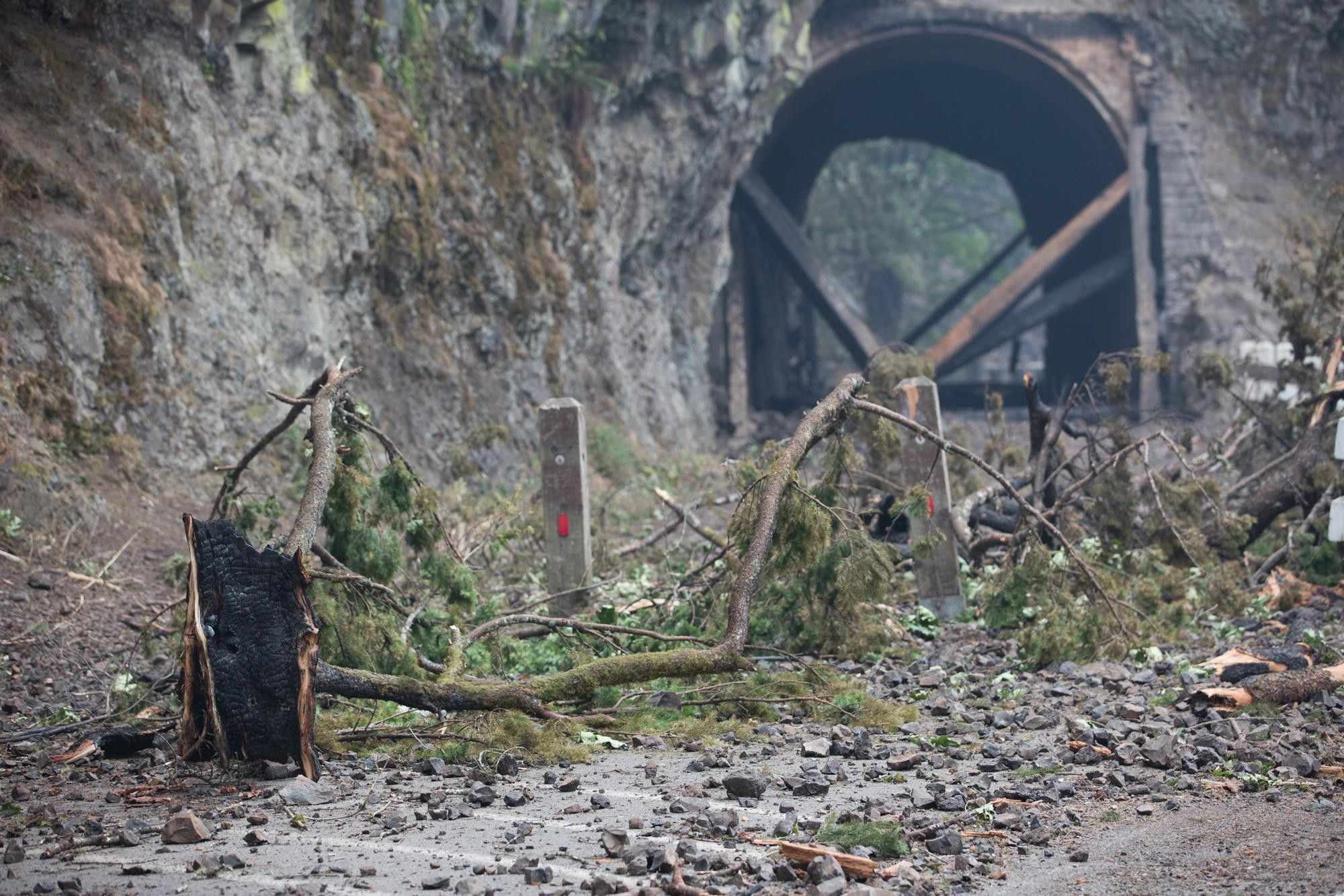Aftermath Photos of Multnomah Falls Fire