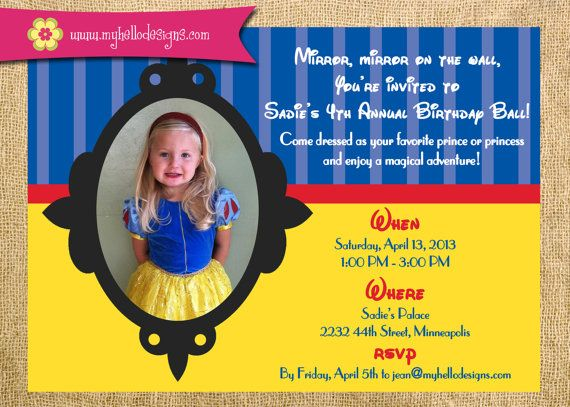 photograph relating to Snow White Invitations Printable known as Printable Snow White Influenced Birthday Bash Invitation Do-it-yourself
