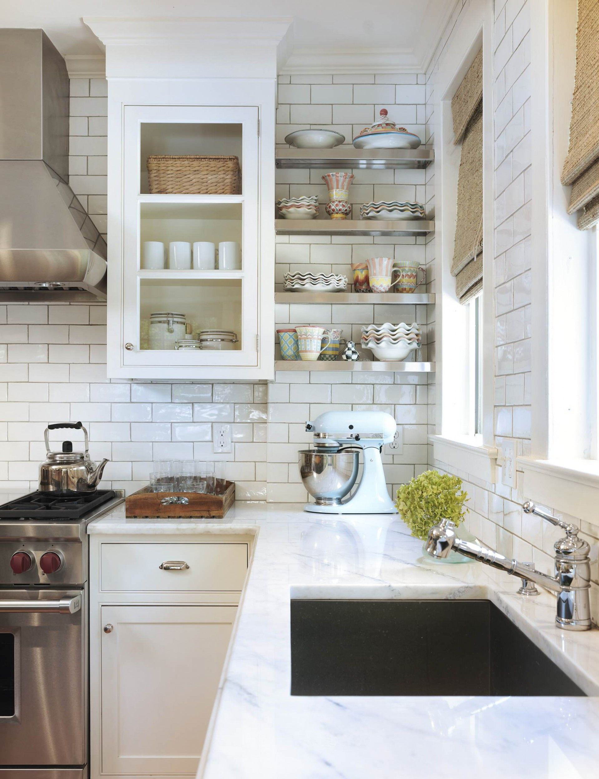 Picture of White Ceramic Subway Tile Backsplash Design | DIY ...