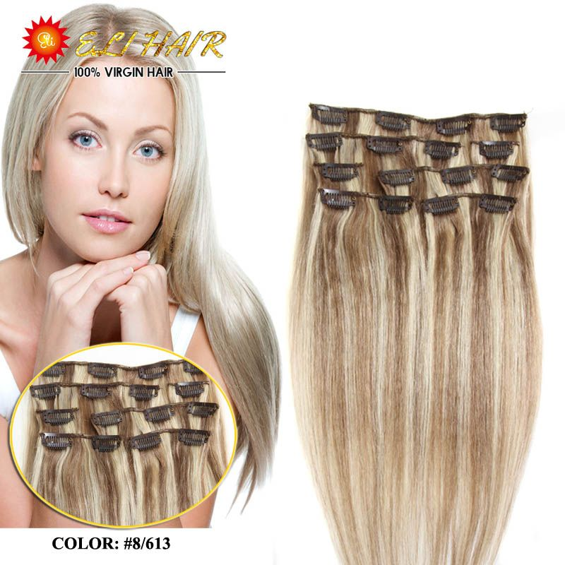 Clip In Human Hair Extensions 28 Colors Brazilian Virgin Hair Clip