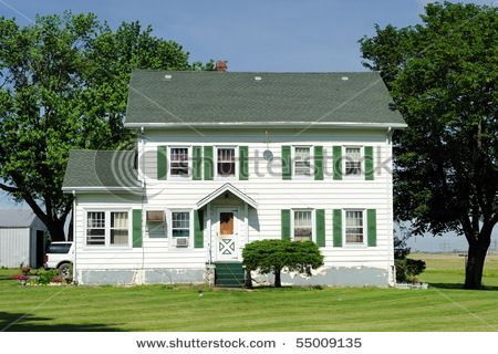 White House Green Shutters Green Shutters House House Colors
