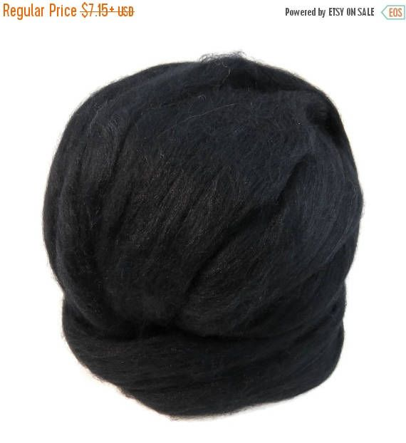 SALE Merino Silk Roving, (Black)