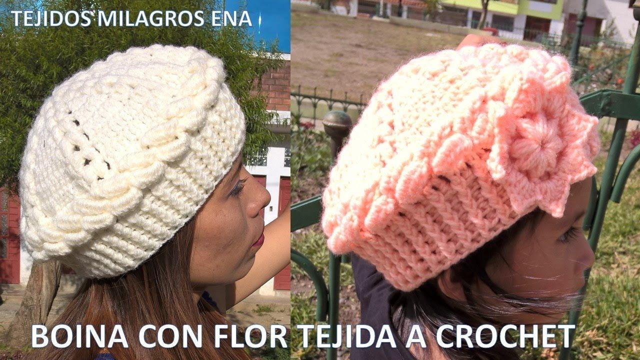 616fb52ba98da Boina con flor tejida en punto garbanzo y relieves paso a paso FÁCIL Y R..