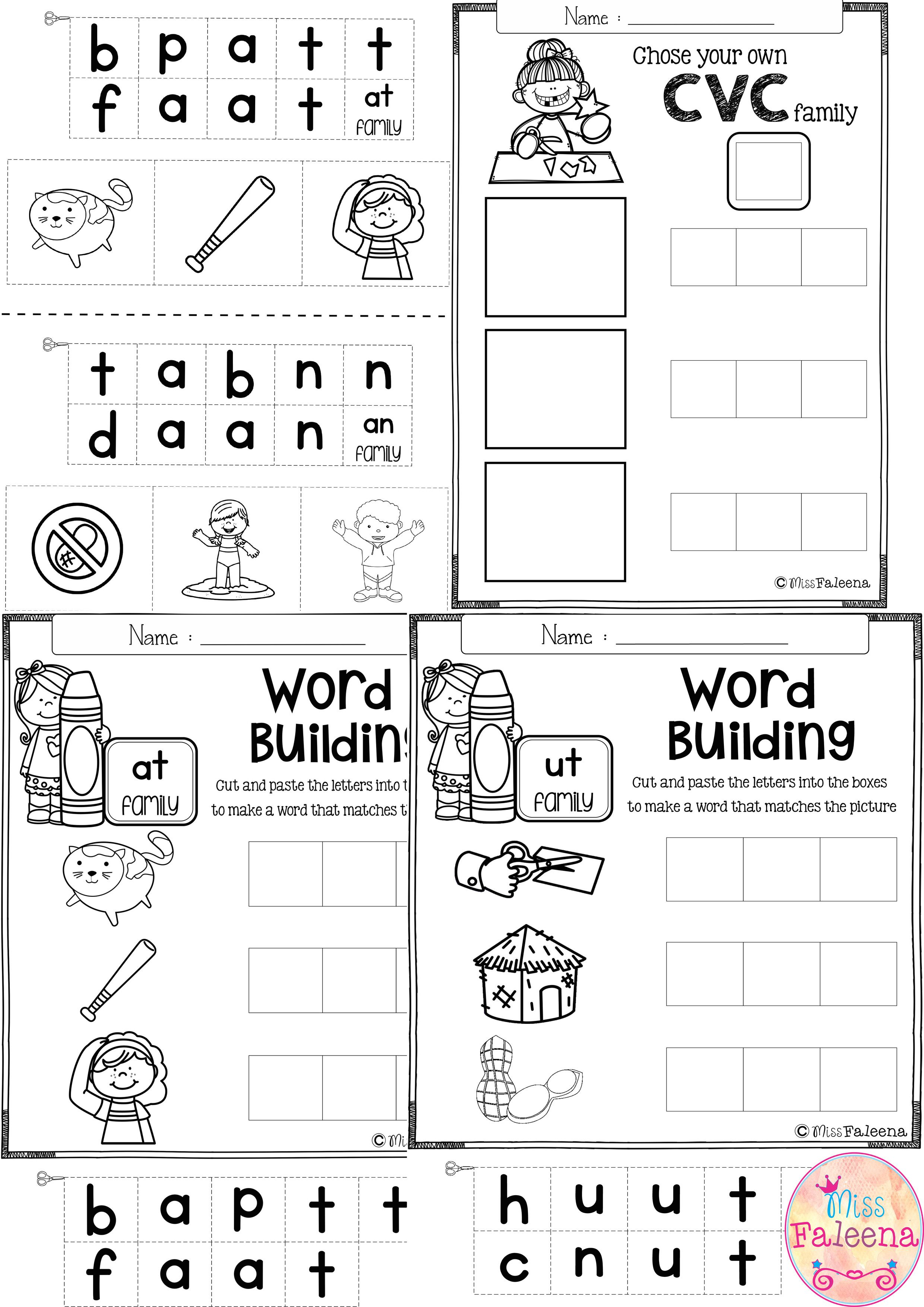 Free CVC Word Building Practice This product will help to teach