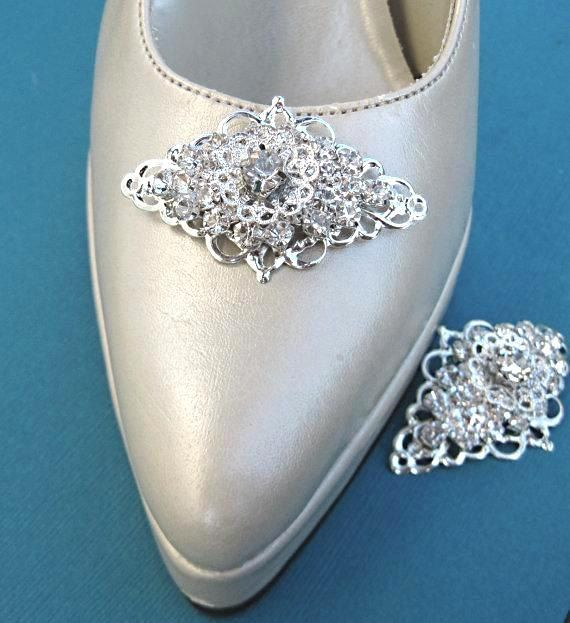 Wedding Shoe Clips, Rhinestone shoe clips, Vintage Victorian Style Shoe Clips, Silver and Crystal Wedding Shoes. $27.50, via Etsy.