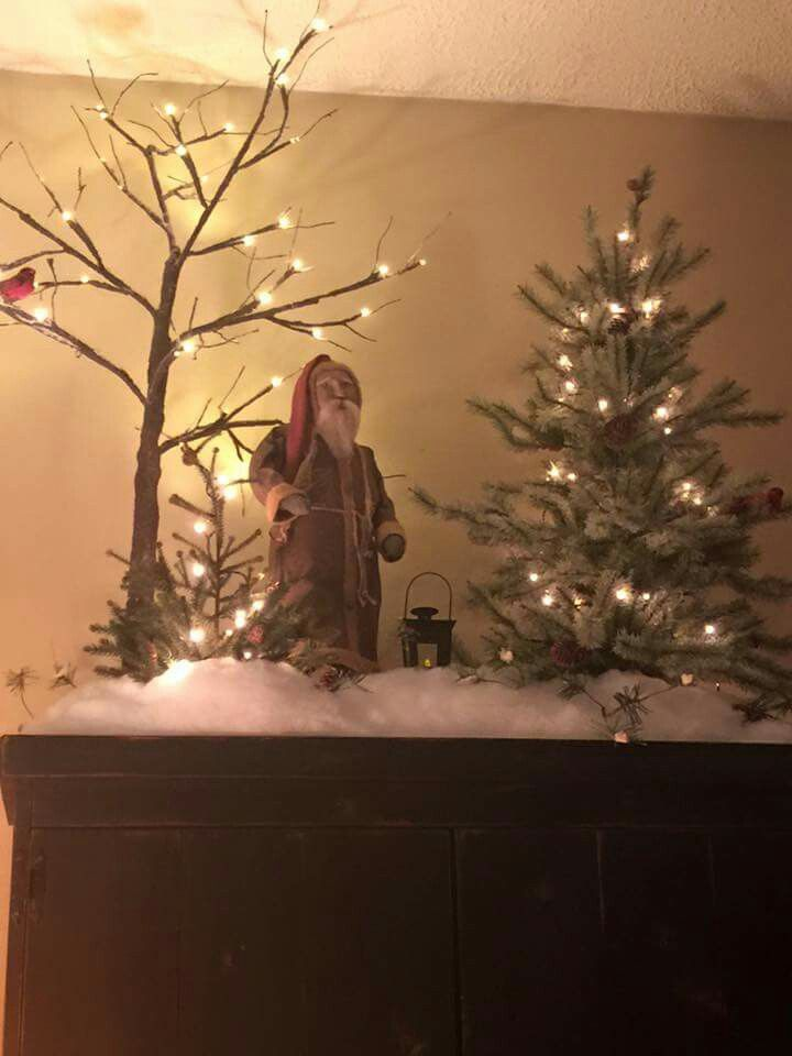 Santa and tree display jingle jingle jingle Pinterest Display - primitive christmas decorations