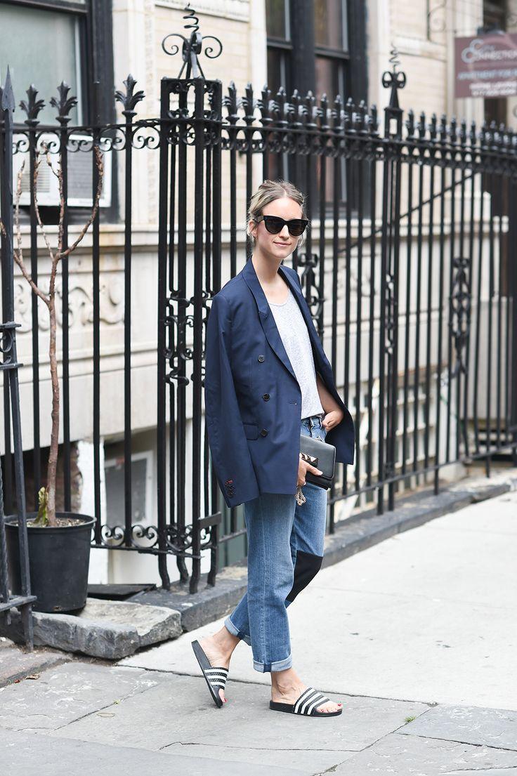 denim, navy and adidas slides | Fashion