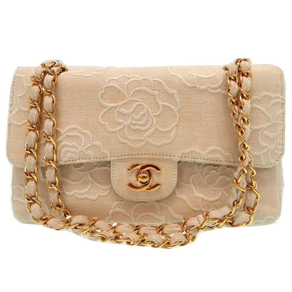89bf7323f20b chanel Double Flap Matelasse Chain Shoulder Bag Camellia Canvas 0706 ...
