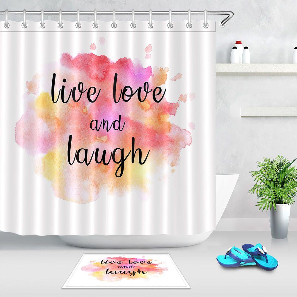 Watercolor Backgroud Shower Curtain For Bathroom Decor Mat Live Love Laugh Words Curtains