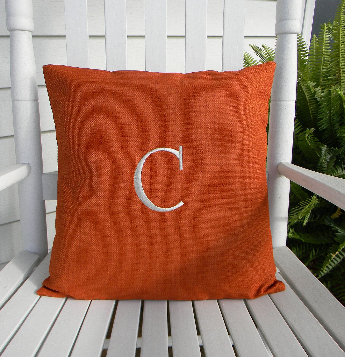 Monogrammed Outdoor Pillow Cover In Tangerine 16x16. $23.95, Via Etsy. Shop  U0027DesignsByThem