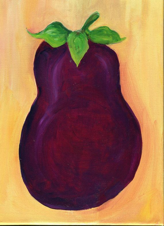 Eggplant Painting On Canvas Original Food ART 9 By SharonFosterArt  #sharonfosterart #originalart #kitchendecor