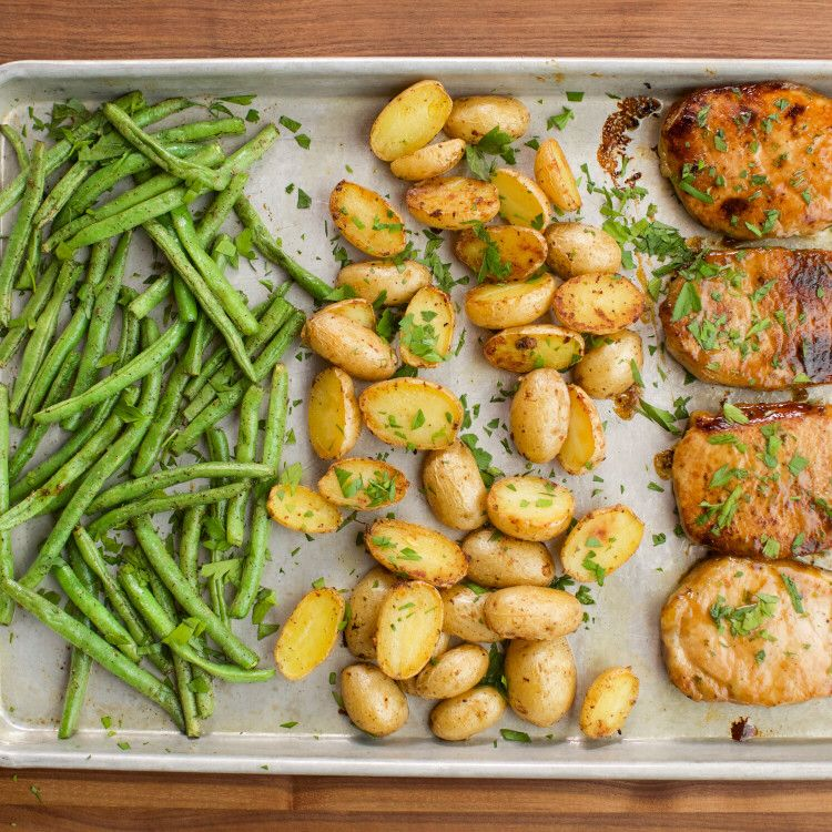 Ranch Pork Chop Sheet Pan Supper #sheetpansuppers