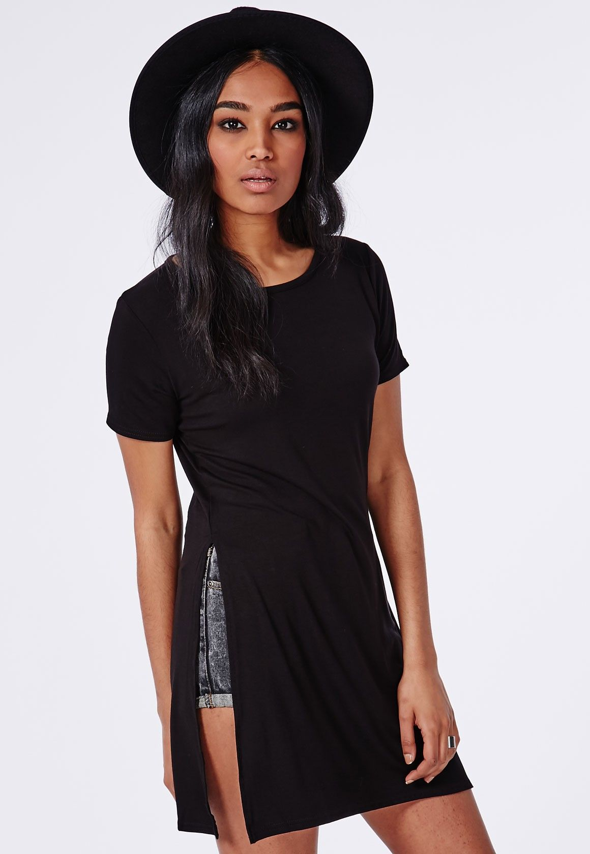 Missguided - Split Side T-Shirt Black | Future concert | Pinterest ...