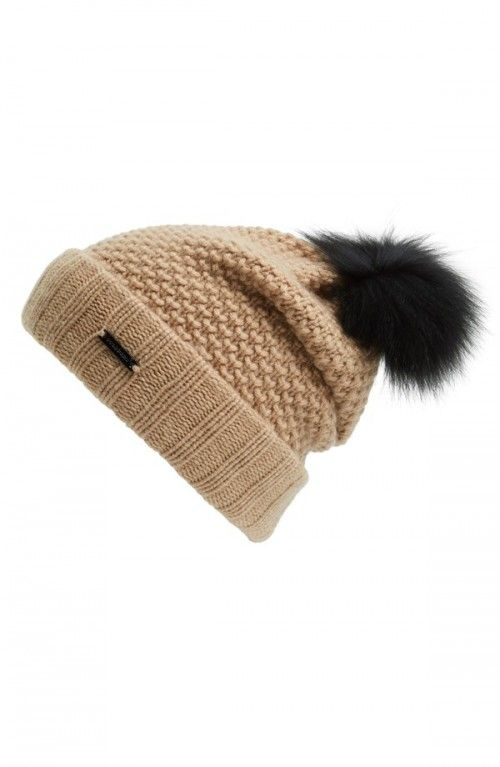 96aa449780e Burberry+Women s+Knit+Wool+Cashmere+Beanie+with+Genuine+Fox+Fur+Pompom +Beige+