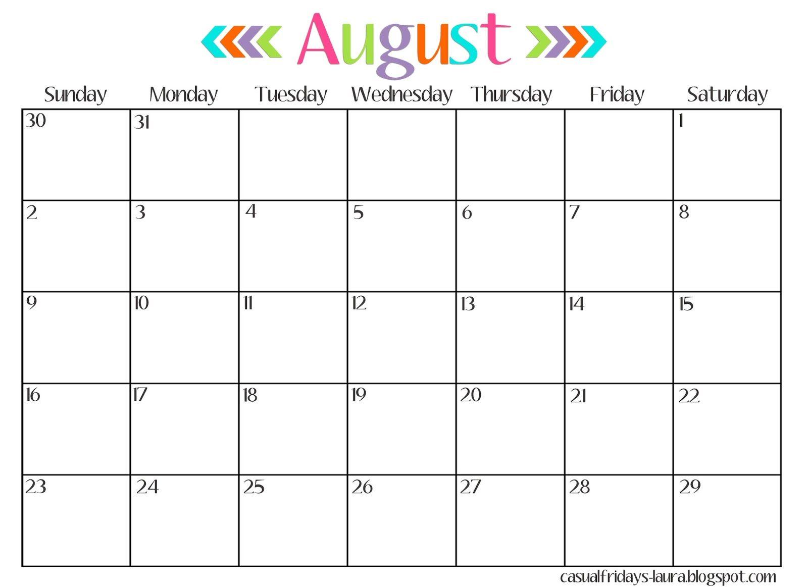 August 2017 Calendar Printable Template http://socialebuzz.com ...