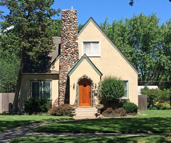 Honey I Shrunk The House: Stucco House With Stone Chimney