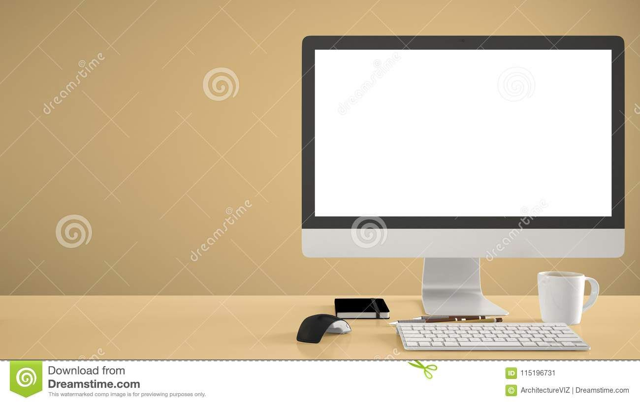 Desktop Mockup Template Computer On Yellow Work Desk With Blank Screen Keyboard Mouse And Notepad With Pens And Pencils Colored Work Desk Computer Note Pad