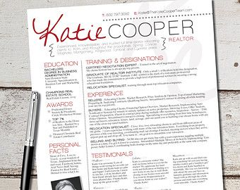 Very Cool And Pro Looking Realtor Resume Done For You By A Layout Designer  On Etsy.  Realtor Resume