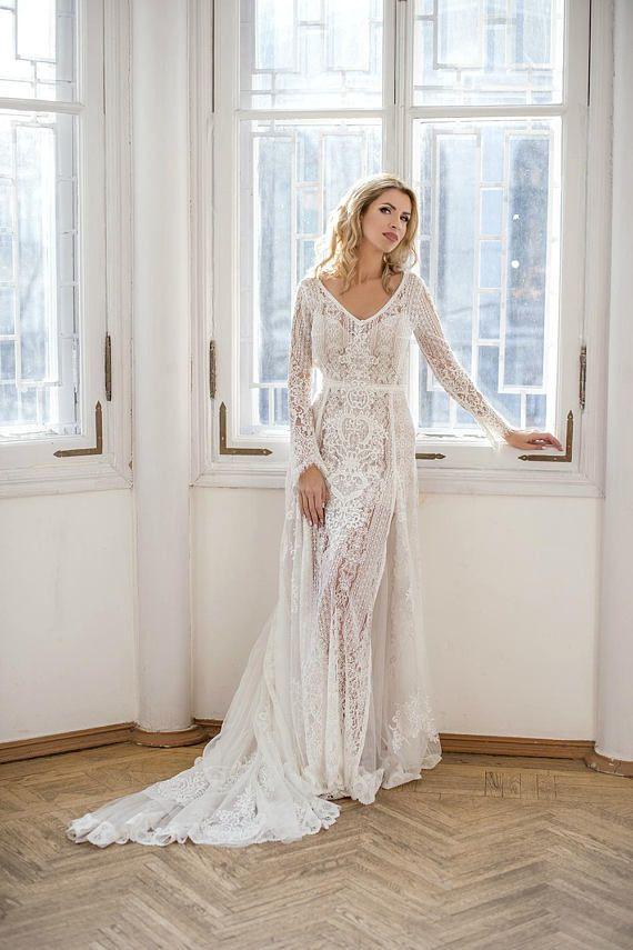 2b9b15b6ff7dd Amazing Long Sleeve bohemian wedding dress, boho wedding dress, lace wedding  dress, backless wedding