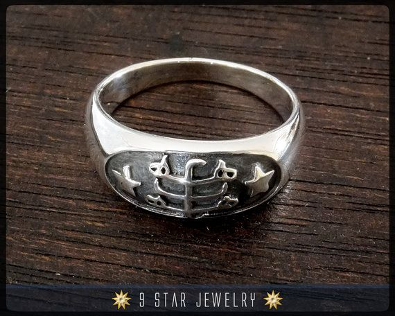 Silver Baha I Ring Stone Symbol Ring Sizes 4 To 13 Brs4 Star