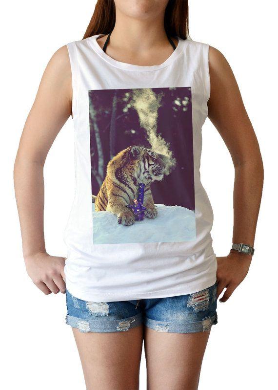 44be2d9477f35 weed smoking Tiger dope bong women s singlet Tank by maibork555 ...