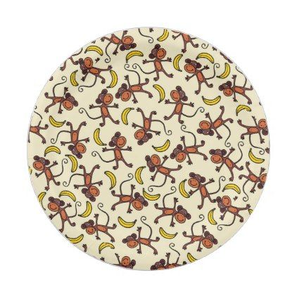 sc 1 st  Pinterest & This Monkey is Bananas Safari Pattern Paper Plate