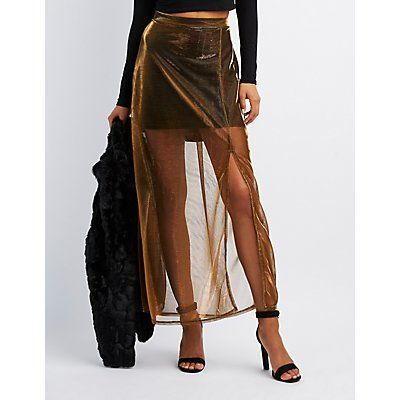 1faf296bf4 Metallic Mesh Overlay Maxi Skirt