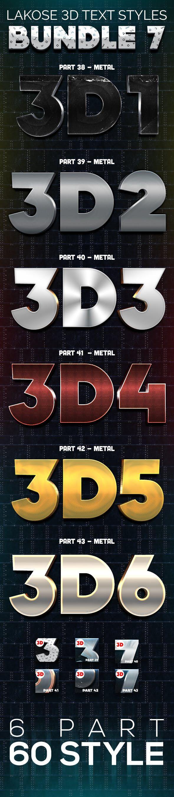 Lakose 3d Text Styles Bundle 7 Text Style 3d Text Photoshop Styles