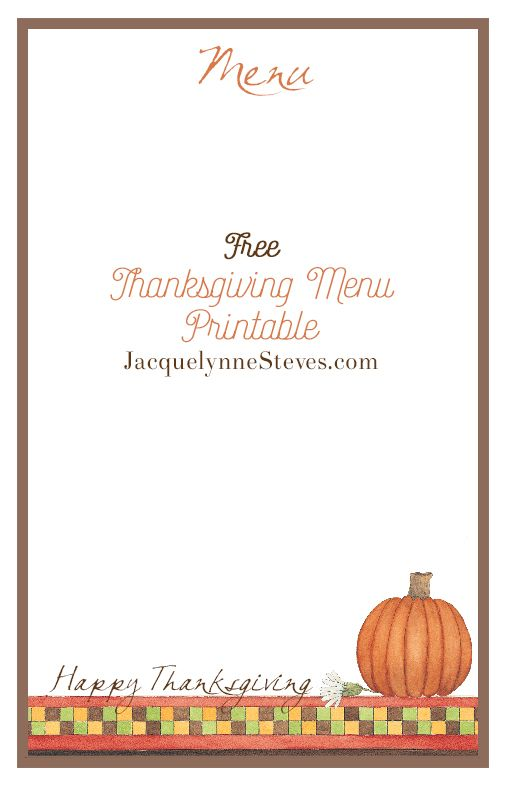 Free Printable Thanksgiving Menu and Place Cards Autumn Bliss