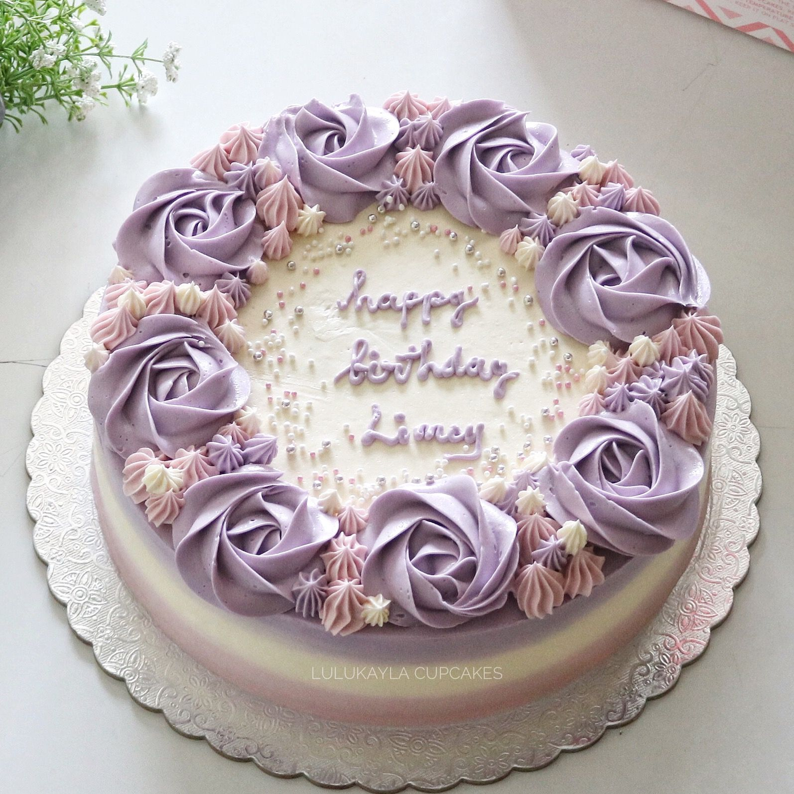 Updated classic Birthday cake with flowers, Rosette cake