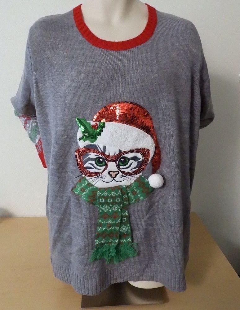 CHRISTMAS Cat SANTA CAT Ugly Christmas SWEATER Women\u0027s Plus 4X NEW W