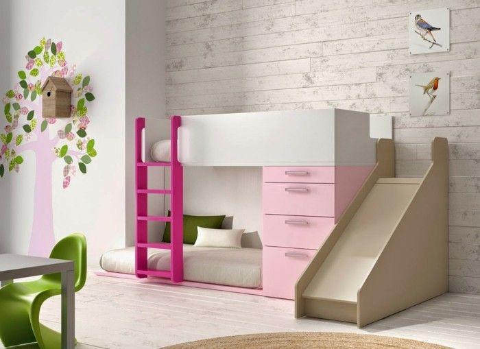 Kinderhochbett rutsche rosa treppe runder teppich kinderzimmer
