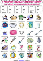 Kitchen Vocabulary ESL Printable Worksheets and Exercises ...