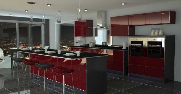 Brilliant Dark Red Black Modern Kitchen Color Schemes Elegant