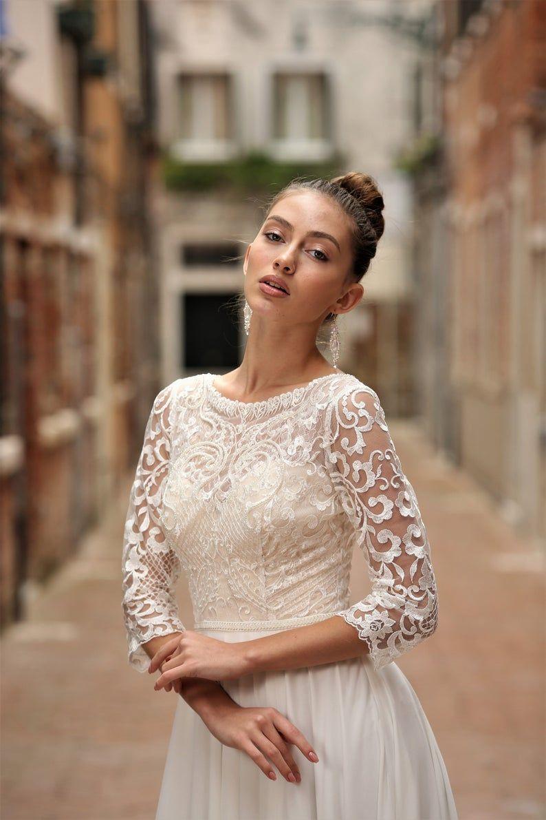 French Lace Wedding Dress Chiffon Wedding Dress Long Sleeve Etsy French Lace Wedding Dress Chiffon Wedding Gowns Long Wedding Dresses [ 1191 x 794 Pixel ]