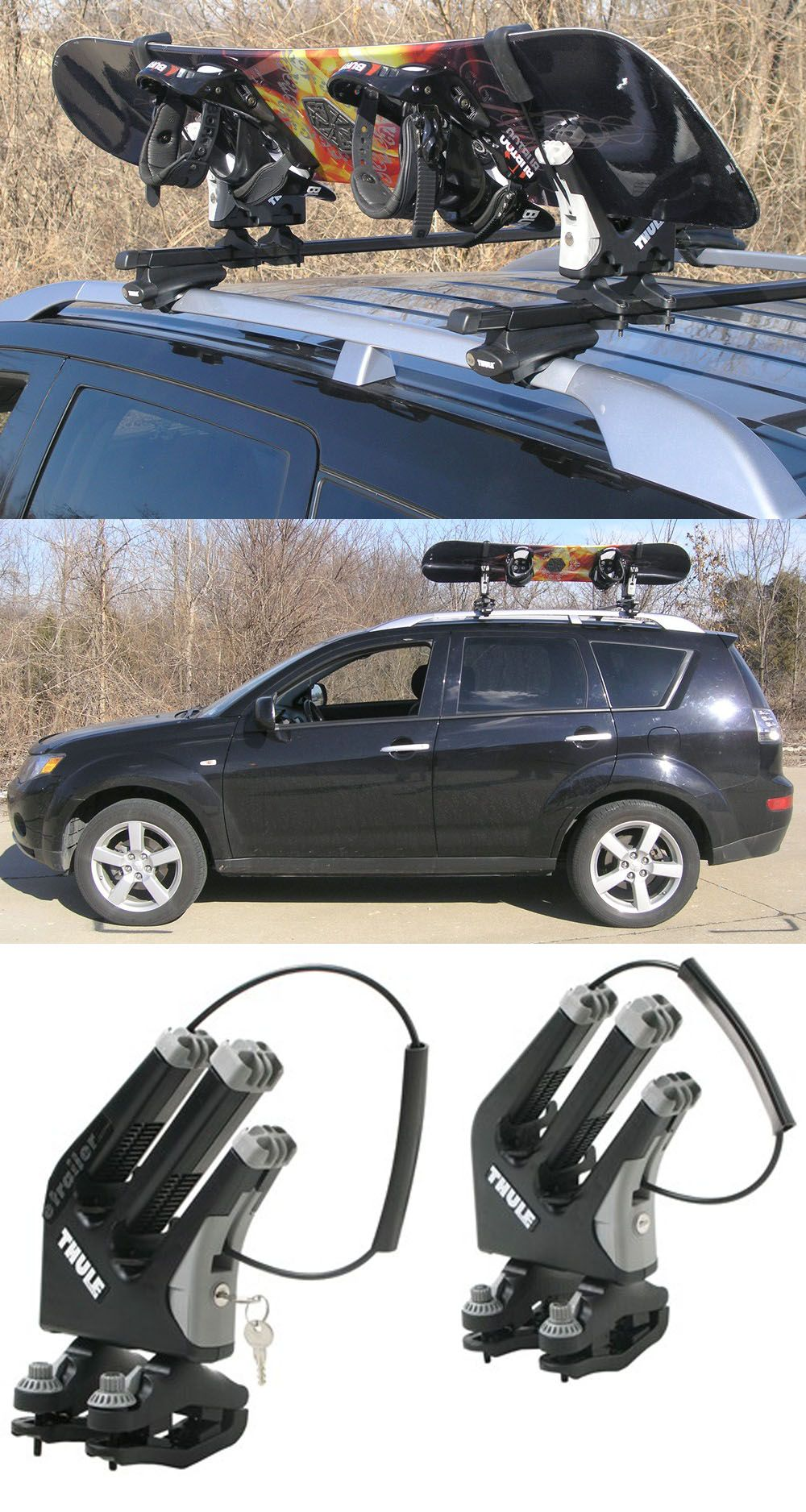 Thule Snowboard Rack With Locks Free Up Some More Space On The Roof For Skis Or A Cargo Box With This Rack Snowboard Racks Snowboard Roof Rack Ski Rack Car