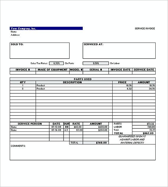 Simple Invoice Templates Of Service Excel Format  Invoice For