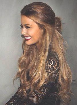 Brunette Long Hair Highlights Half Up Half Down Bun Primp